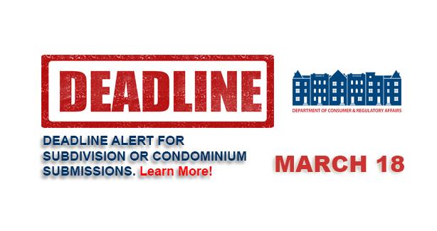 Subdivision Submission Deadline - March 18, 2015