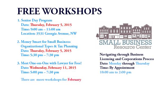 Free Workshops - February 2015