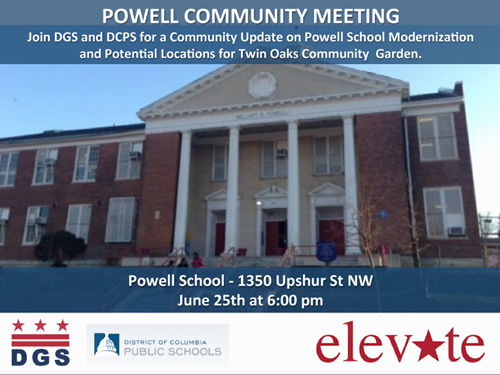 Powell Elementary School Modernization Project and Twin Oak Community Garden Meeting Flyer - June 25, 2014 (Download accesible version, below)