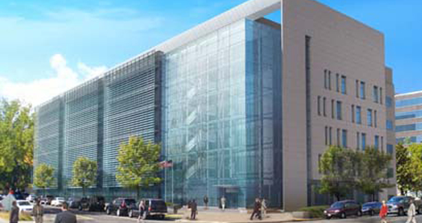 artist's rendering of new office building