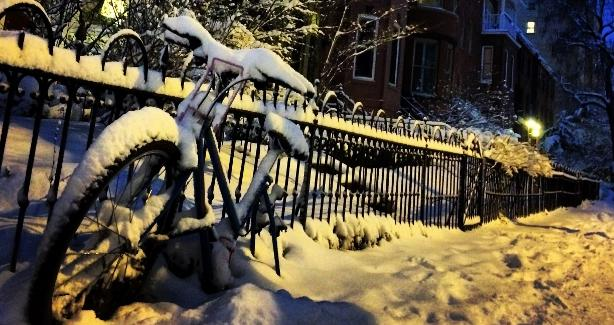 bike covered in snow